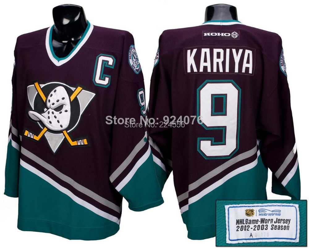 4d7e648b9 promo code for 90s anaheim mighty ducks 9 paul kariya capt nhl hockey jersey  48 l