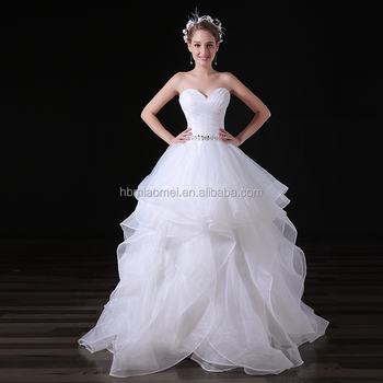 Beaded Floor Length White Puffy Ruffle Ball Gown Wedding Dress ...