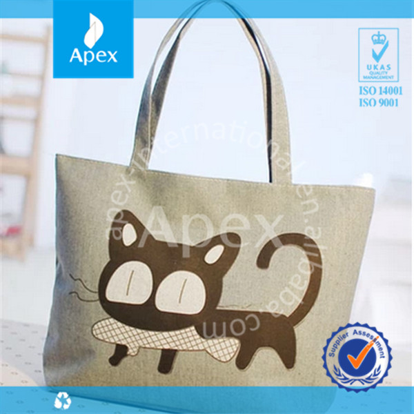 2014 custom printed fashion canvas college tote bag for girls