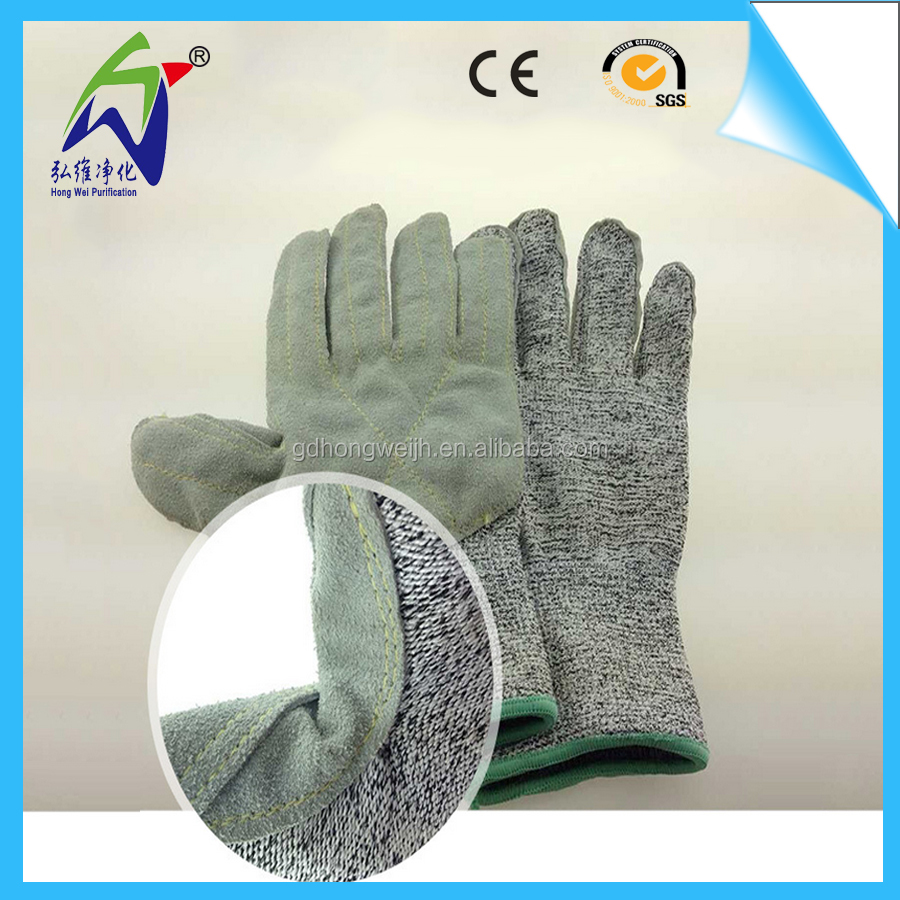 Factory Price HPPE Liner Leather Palm Level 5 Anti Cut Gloves