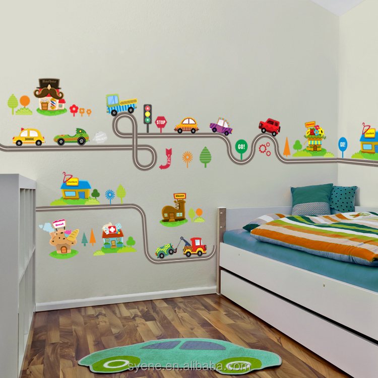 3d car cartoon wall stickers boy's bedroom home mural art for kids