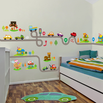 3d Car Cartoon Wall Stickers Boys Bedroom Home Mural Art For Kids