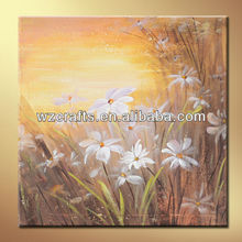 Beautiful nature flowers nearby the creek handmade oil painting on canvas