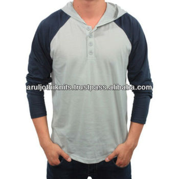 Mens Hooded T Shirt With Contrast Raglan Sleeves - Buy T Shirt ...