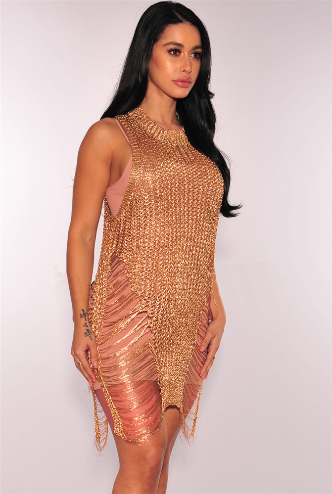 ladies fashion dresses sexy club gold  hollow out bandage dress