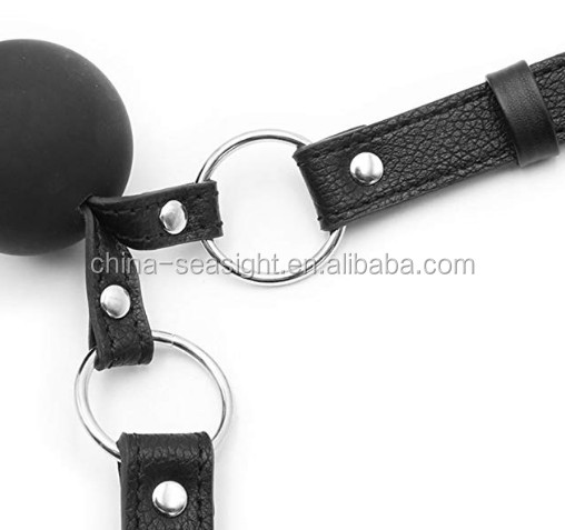 Open Mouth Leather Play Silicone Ball for Couple Men Women