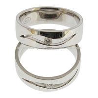 14K white gold wedding ring with diamond NC-114