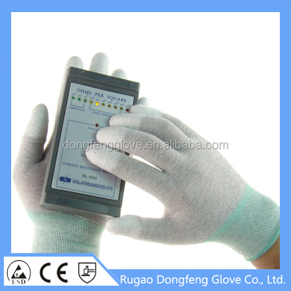 All Sizes high quality Nylon ESD PU Top Fit Coated Conductive Glove