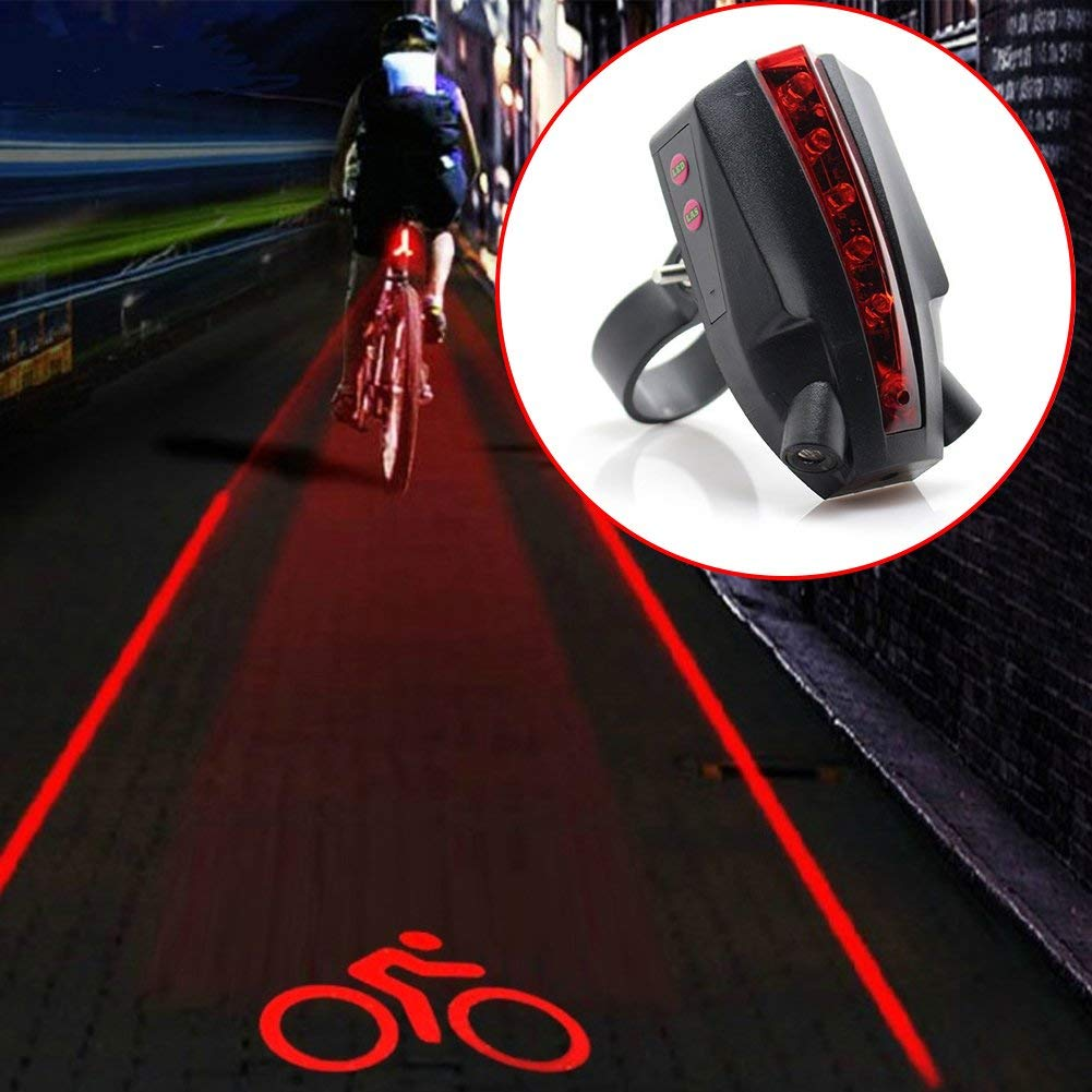 GEZICHTA Bike Rear Tail Light LED Safety Light with Logo,5 LED 2 Laser Beams Intelligent Bike Tail Lamp, Bike Tail Light