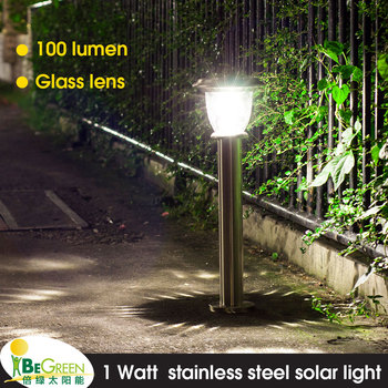 100LM Output Stainless Steel Patio Court Stake Solar Powered Led Yard Lamp  Lawn Pathway Post Outdoor