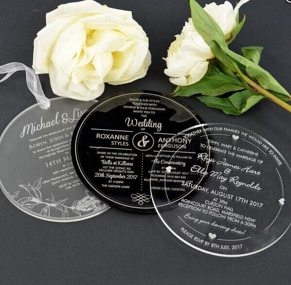 Convite do casamento de Romantics / plexiglass para o convidado