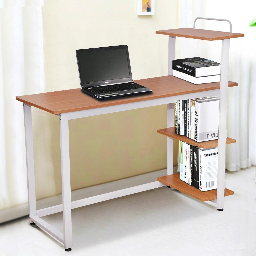 Amazing Get Quotations · Yaheetech Wood Corner Computer Desk PC Laptop Table  Workstation With 4 Tiers Shelves (Brown)