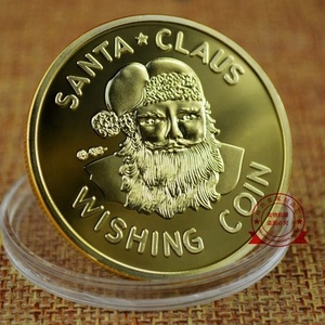 New Wishing Coin Merry Christmas Happy Holidays Santa Claus Gold Plated coin