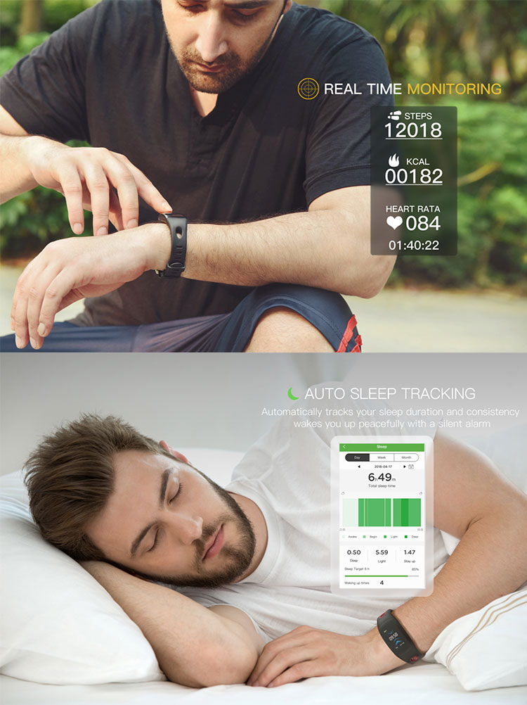 Smart sport blood pressure heart rate monitor fitness tracker