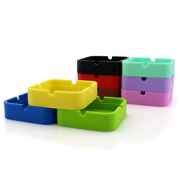 Oempromo Colorful Heat Resistant Square Custom Silicone Ashtray
