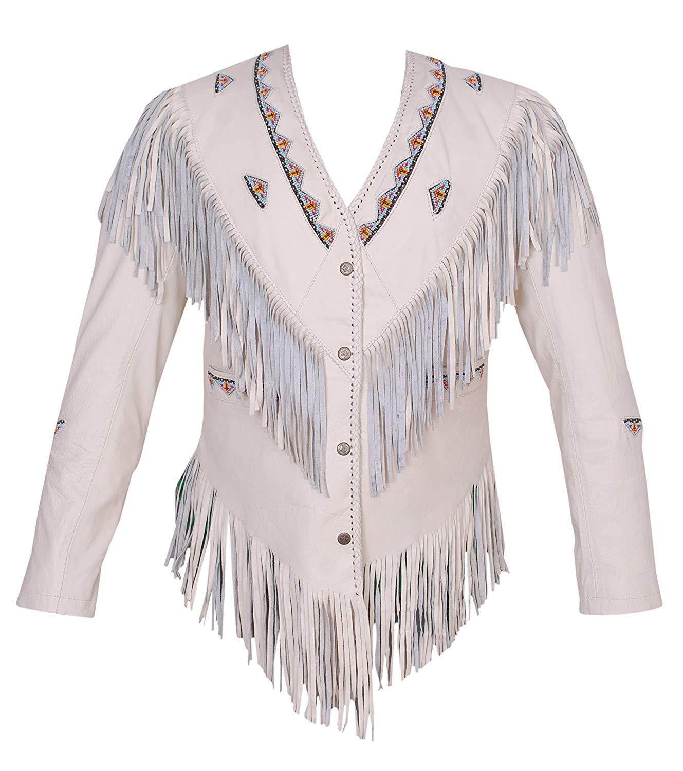 eaf08fc4 Get Quotations · Women's Western Genuine Leather Shirt Cowboy Style Jacket  with Fringe Beaded Size Small to 4XL