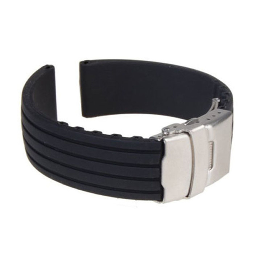 2015 New Hot Black Silicone Rubber Watch Band Strap Straight End Bracelet 18mm 20mm 22mm 24mm