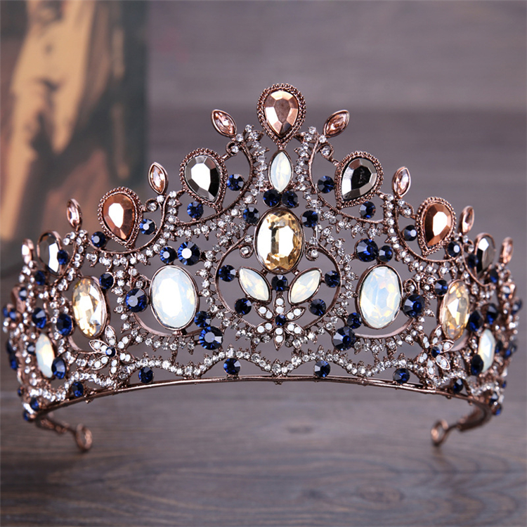 Vintage Retro Gold Bridal Wedding Tiaras and Crowns For Women Bride Pageant  Prom Royal Crown Wedding head Jewelry Accessories