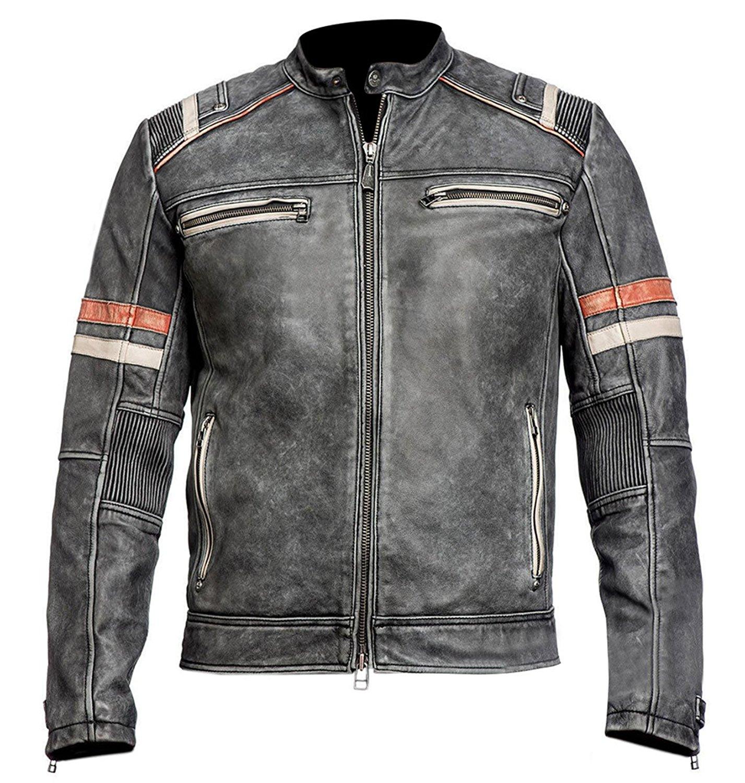 e964f297d56 Get Quotations · Distressed Black Retro Men s Vintage Cafe Racer Motorcycle  Leather Jacket