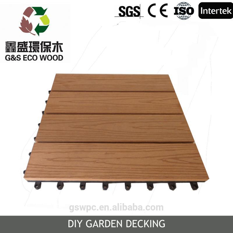 gswpc Interlock outside waterpoof wood plastic composite wpc garden tile plastic base