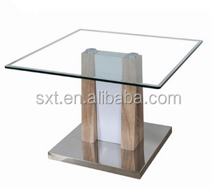 New Design Hot Selling Small Coffee Table In Wood And Glass Top Side Table  Metal Base
