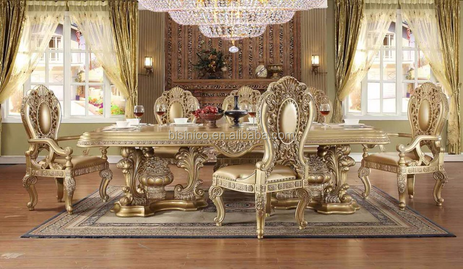 Italian Royal Style Solid Wood Goldleaf Expandable Dining