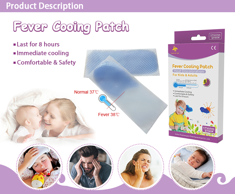 New Heat Discoloration Fever Reduce Plaster Cooling Gel Patch For Body