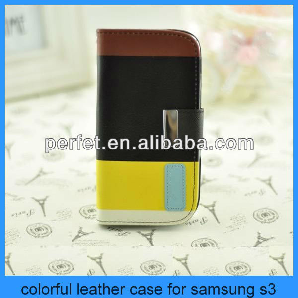 For samsung galaxy 9300 colorful flip leather cover samsung galaxy s3 case