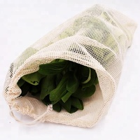 BOSI Recycled custom fruit cotton mesh bag grocery shopping produce net bag