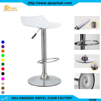 XQ 881 Round Hole Acrylic Seat Lift Adjustable Dining Chairs Bar Stools  With Footrest