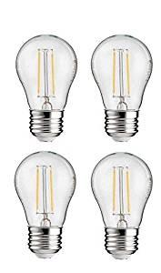 Philips LED A15 Non-Dimmable 110-Lumen, 2000-Kelvin, 2-Watt (25-Watt Equivalent) Vintage Filament Light Bulb with E26 Medium Base, Soft White, 4-Pack