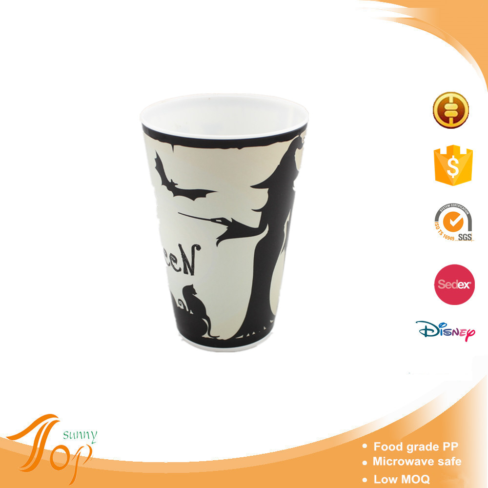 Cheap disposable in mold labeling beer drinking cup for Halloween party decorations