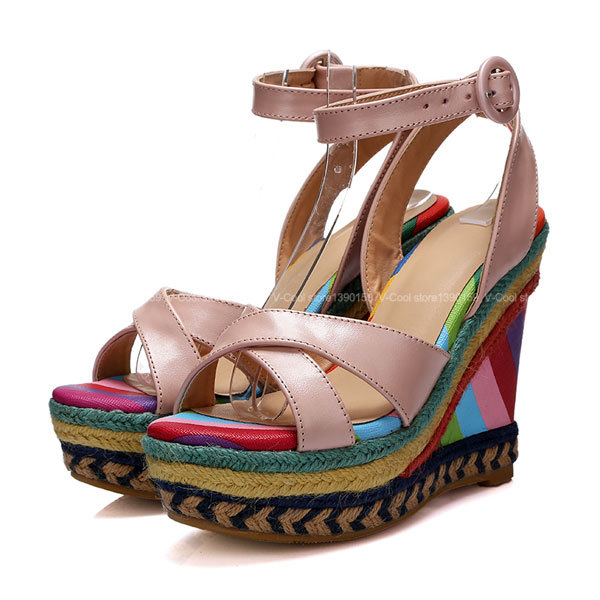 2015 Summer Luxury Valentine Shoes Roman Style Cross-Tied Sandals Rainbow Womens Ethnic Gladiator Sandals Women Sandalias Mujer