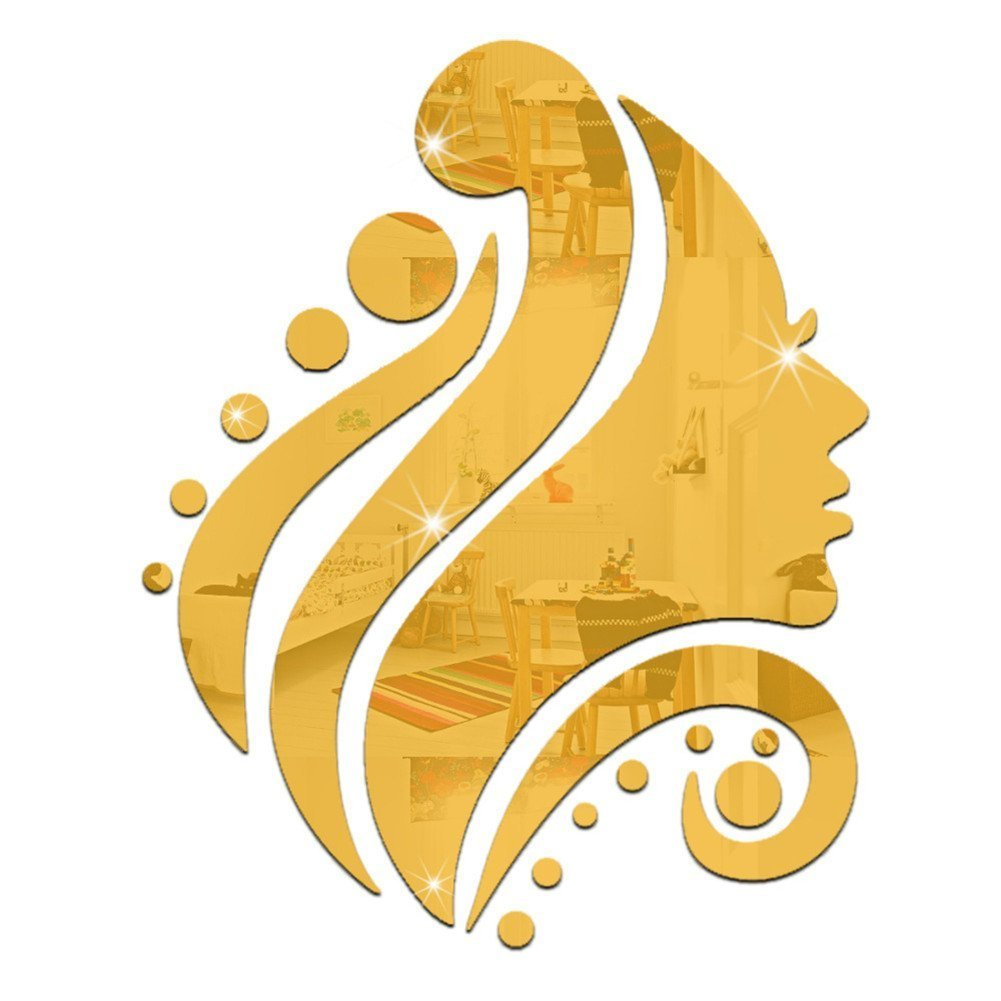 Gracelife 16 pieces Beauty Shot From The Side Mirror Wall Stickers Home Fashion Art Design Removable DIY Acrylic 3D Mirror Wall Decal Wall Stickers (Gold)