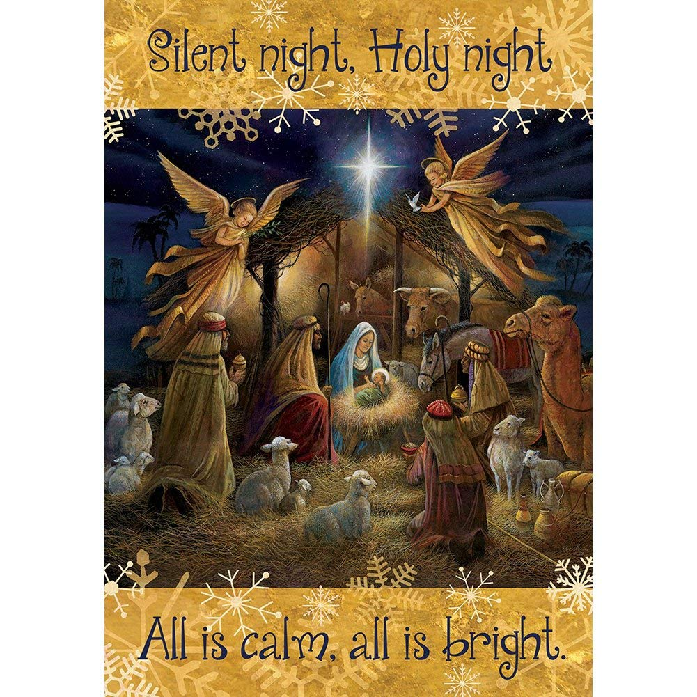 Silent Night - STANDARD Size, 28 Inch X 40 Inch, Decorative Double Sided Flag MADE IN USA by Custom Décor Inc.