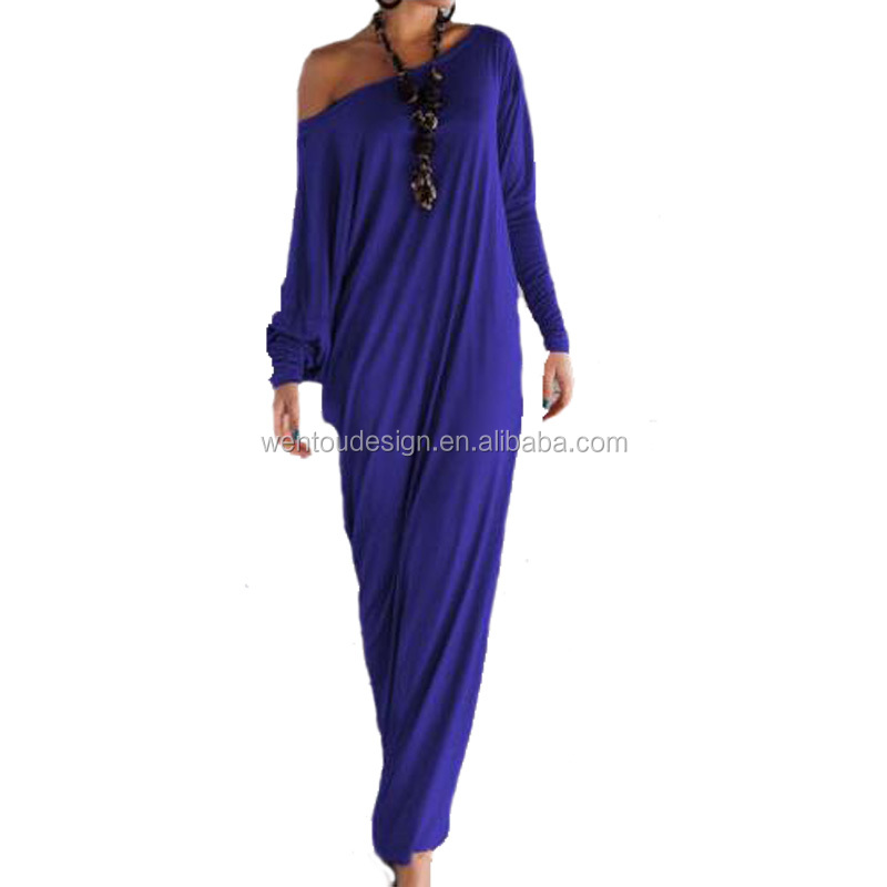 New Arrival Fashion Women Off Shoulder Long Sleeve Blue Maxi Dress