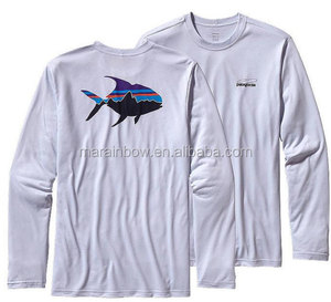 Customized Mens Long Sleeve Fishing Shirt Soft 100% Organic Cotton Jersey T Shirt OEM Printed Fishing T Shirt with Ribbed Cuffs