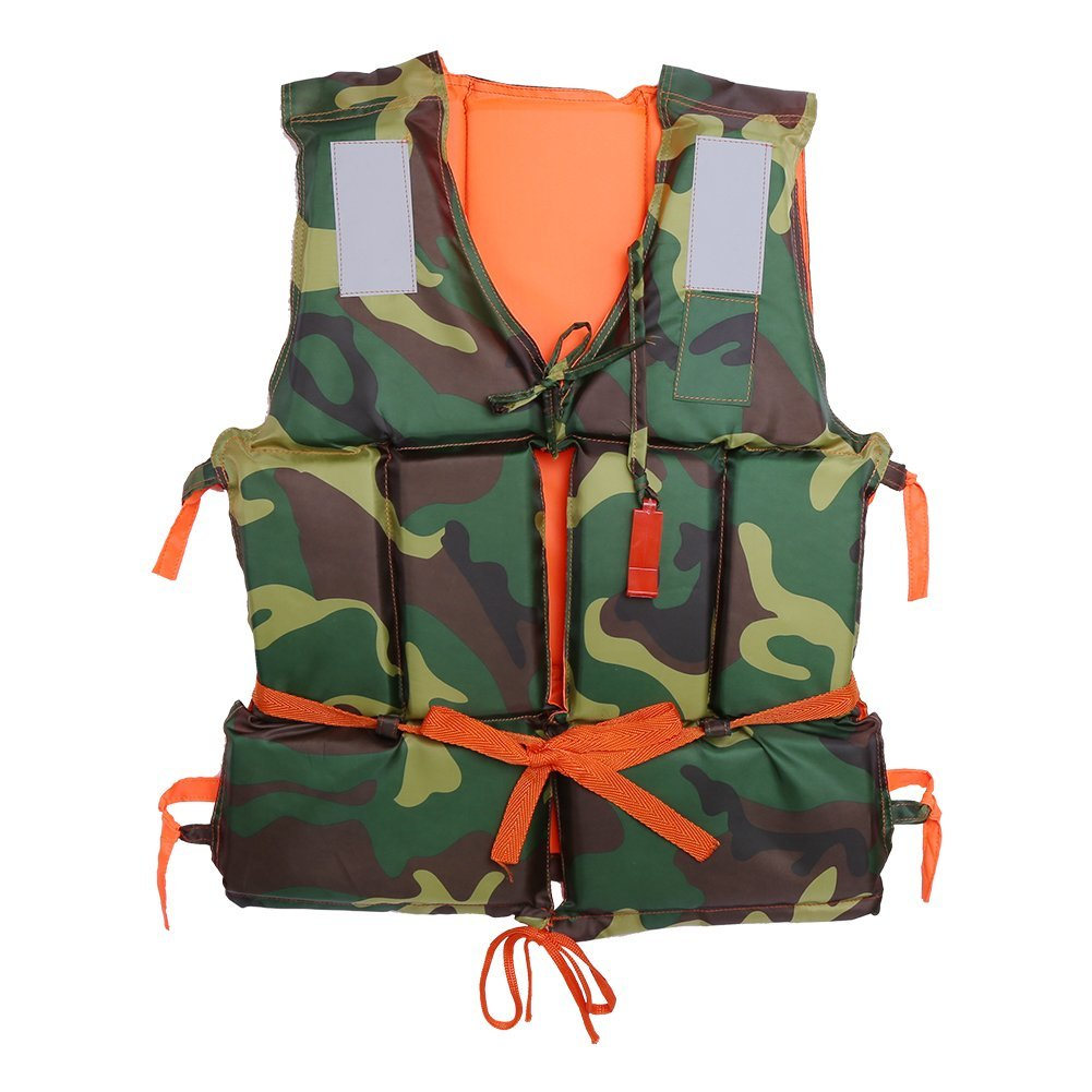 Dilwe Life Jacket Vest, Camouflage Adult Boating Buoyancy Aid Polyester Floating Foam with Whistle for Safety Swimming Fishing Sailing