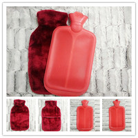 hot water bottle with faux fur cover red