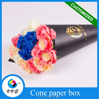 High quality black cone shape flower packaging box with custom logo