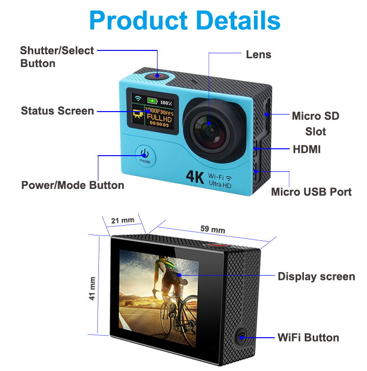 ZXS-H8 Dual screen WIFI Ultra HD 4K Action Camera