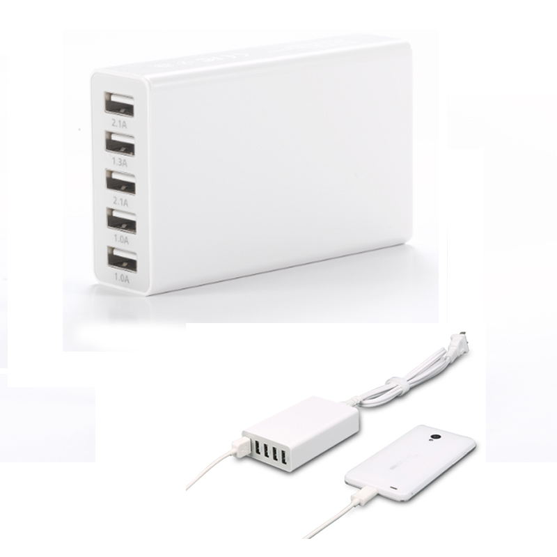 5V5A 5 usb wall multi-port usb port charger with cable