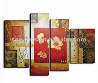 Set of 4 Hand-painted Floral Oil Painting