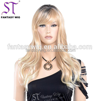 European Design Long Curly Blonde Wig With Dark Roots Part Anywhere Wig For  Women b02db977be
