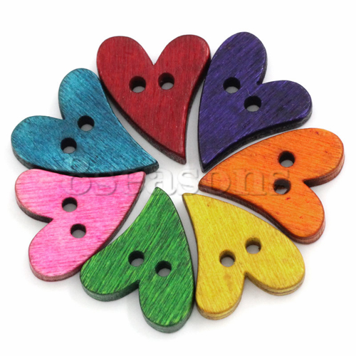 Wholesale Heart Shape 2 Holes Custom Wood Buttons Scrapbooking