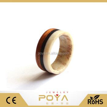 Poya Jewelry 8mm Fashion Mens Antler Wedding Band Ring Mahogany Ring