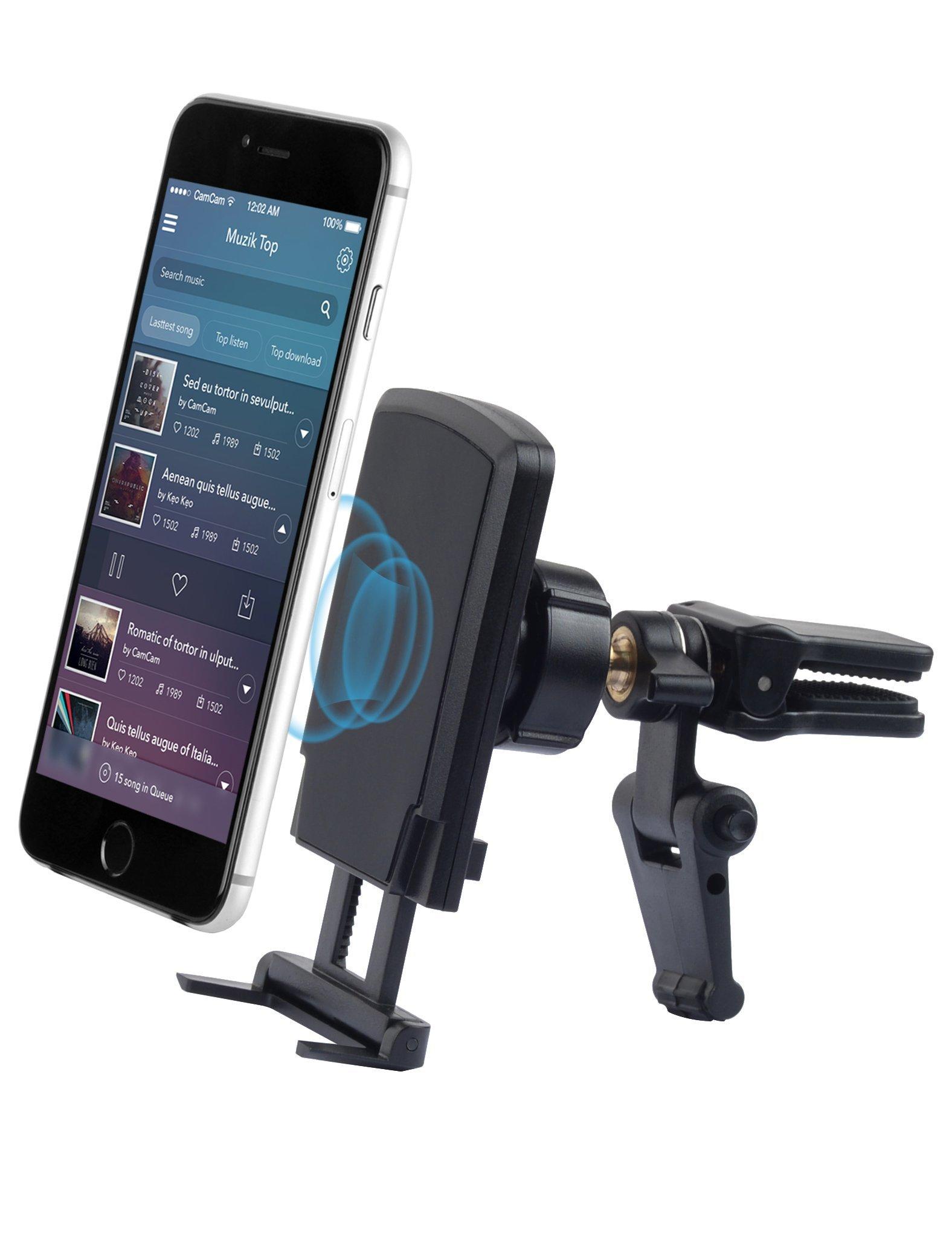 Black Smartecoo 0608473930574 Kawany Car Mount Holder for Phones Air Vent Magnetic Hexa Neodymium Core Car Mount Car Mount Phone Holder for Galaxy S7 S6 Edge Note 5 4 LG G5 G4 iPhone 6 6S SE Plus Nexus 5X 6P More