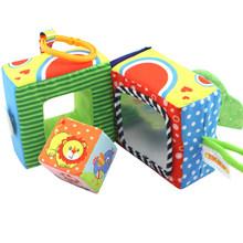Детская красочная животная книга из ткани для детей, развивающая игрушка в форме Мягкого кубик-погремушка для детей 0-12 месяцев(Китай)