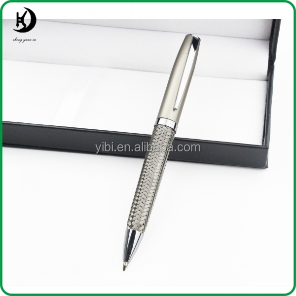 2016 New design STEEL BRAID Stainless Steel Metal Silver Mesh Net Push Type Ballpoint Pen for promotional JX-X01