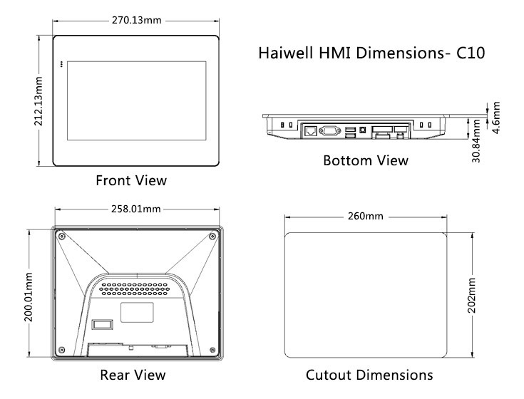 "10.1"" Haiwell Cloud Ethernet HMI C10 Human machine interface"